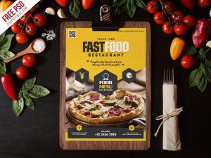 Fast Food Restaurant Menu Flyer Template PSD