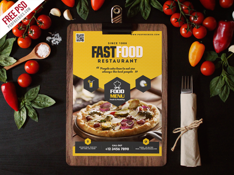 Fast Food Restaurant Menu Flyer Template Psd Psdfreebies Com