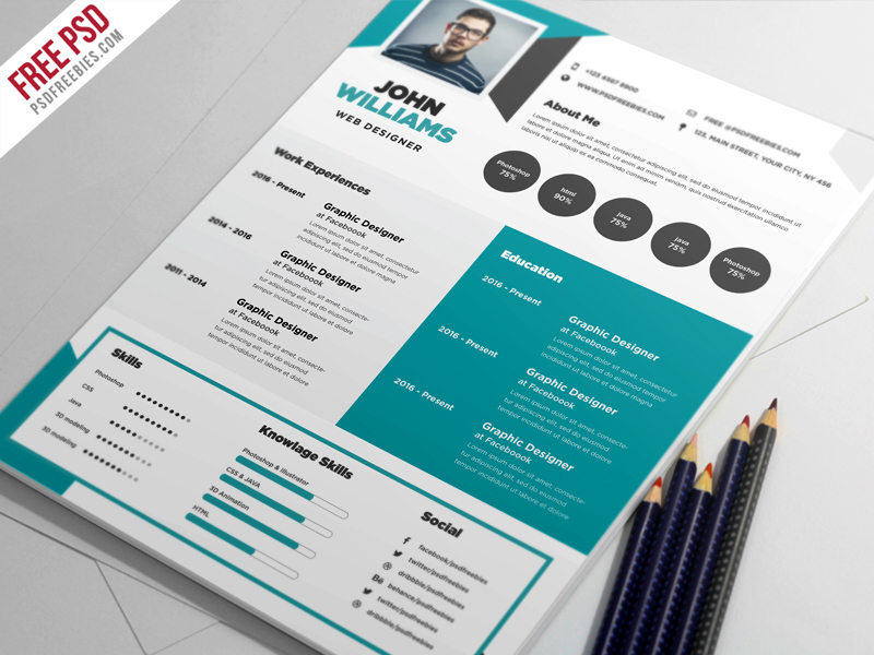 Free Creative Resume Template PSD - Great free creative resume template (psd id)