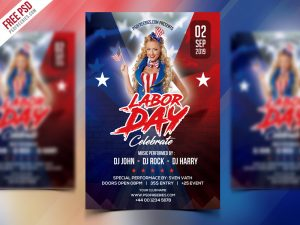 Free Labor Day Celebration Flyer PSD