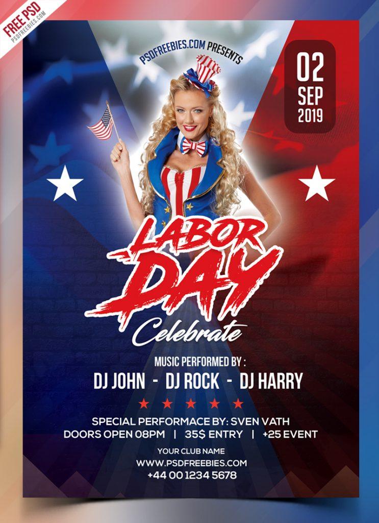 Free Labor Day Celebration Flyer PSD