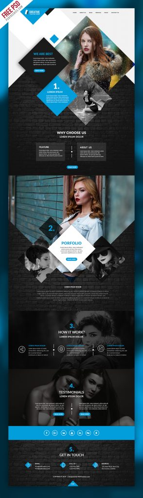 Multipurpose Portfolio Website Template Free PSD