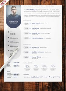 Professional Resume Template Free PSD