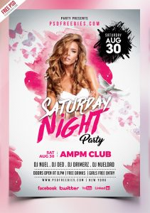 Saturday Night Party Flyer PSD Template