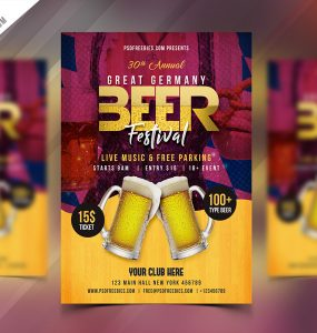 Beer Festival Flyer Free PSD Template