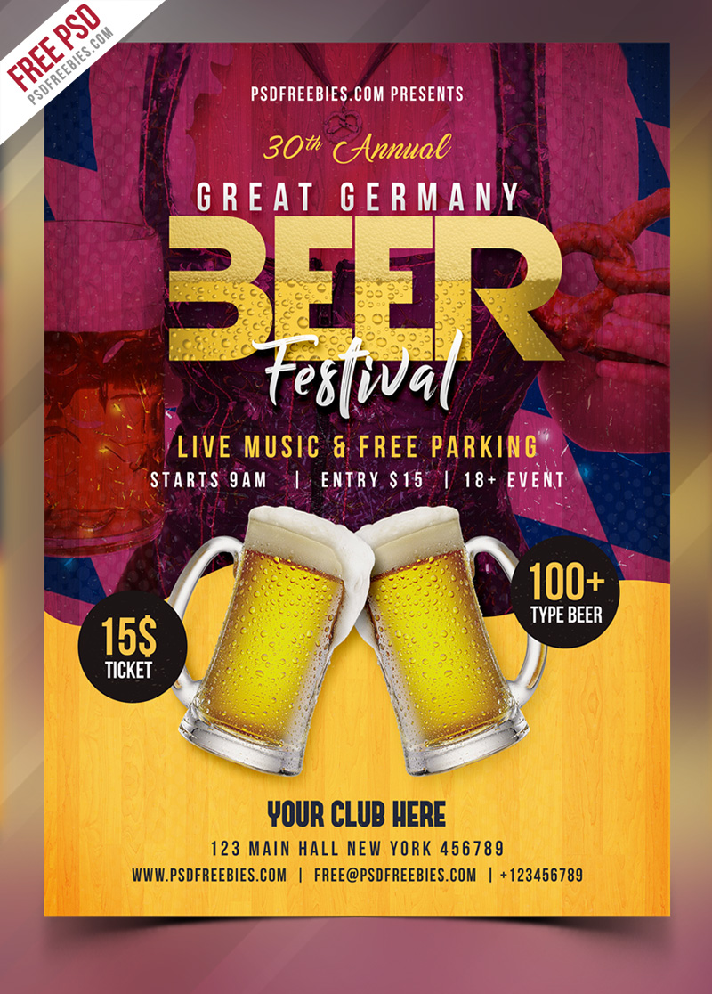 Beer Festival Flyer Free PSD Template | PSDFreebies com