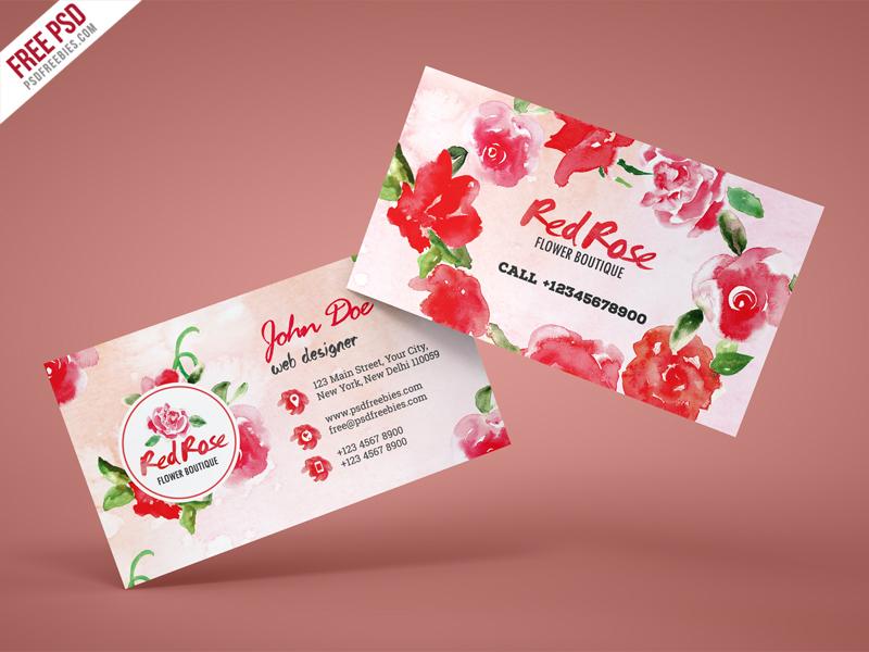 Flower Shop Business Card Free PSD Template