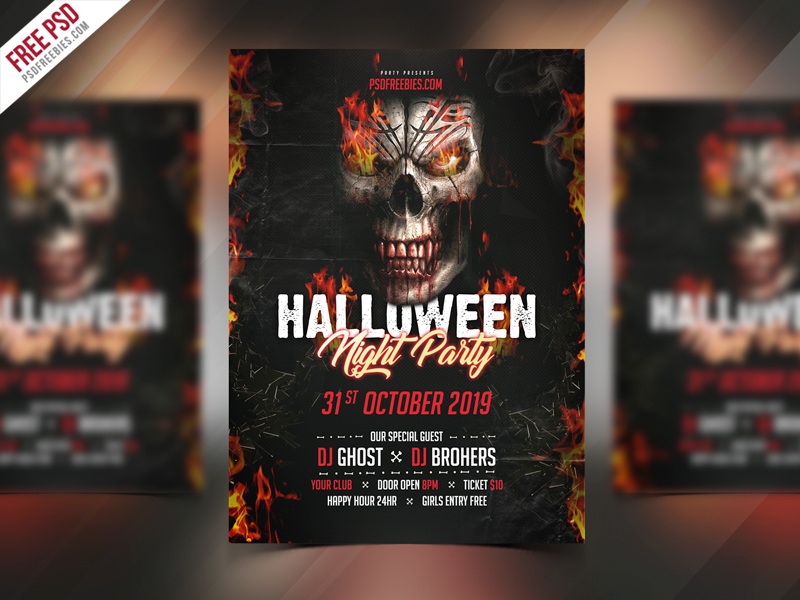 halloween party invitation flyer psd template psdfreebies com