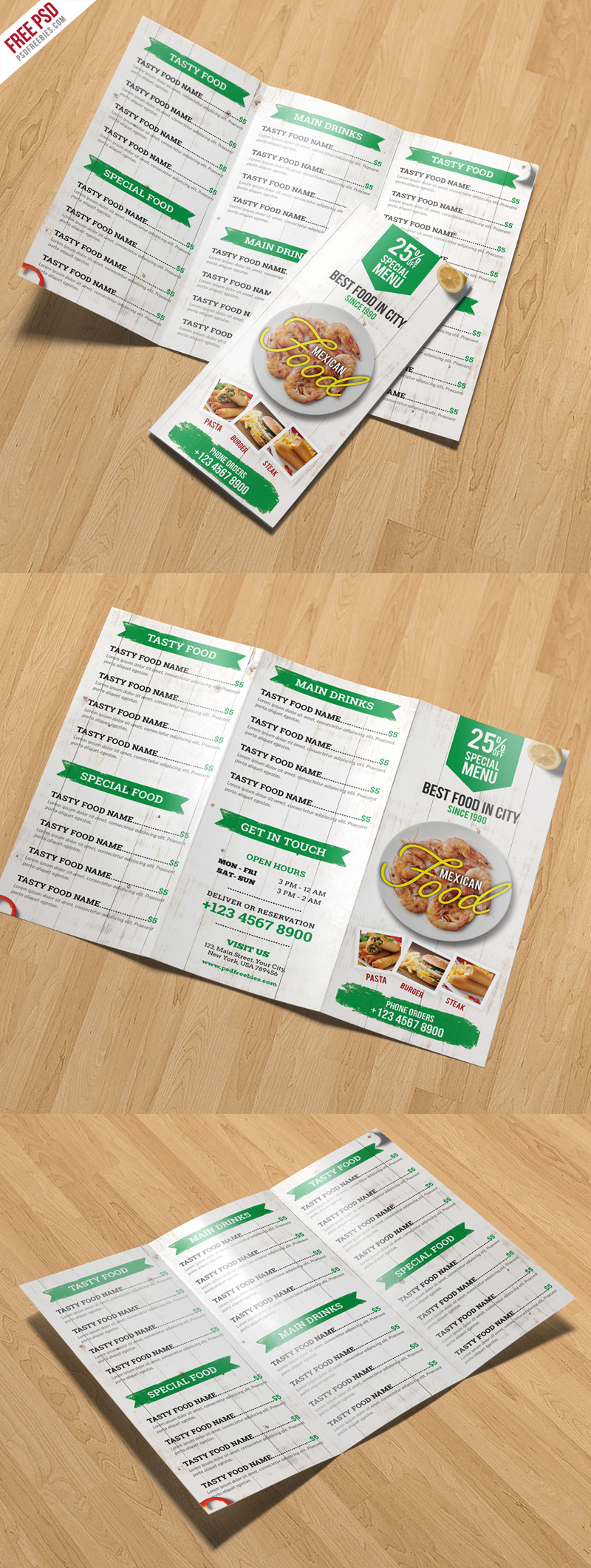 Restaurant Menu TriFold Brochure PSD Template