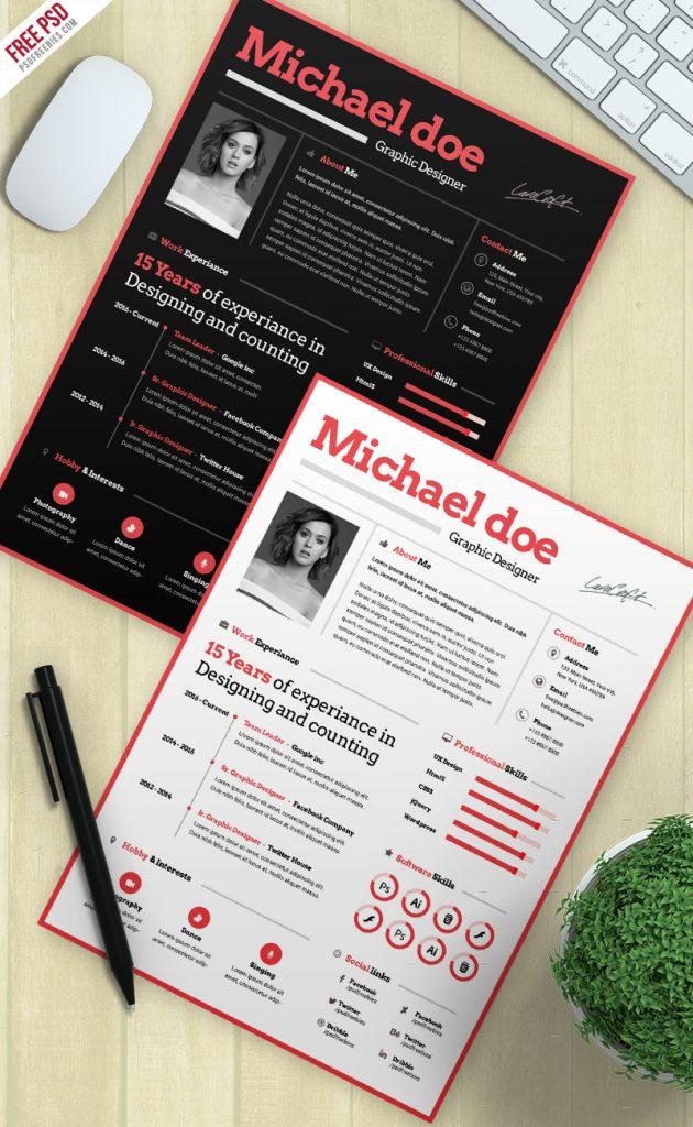 Simple CV Resume Template Free PSD