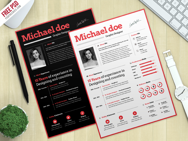 simple cv resume template free psd psdfreebies com