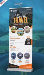Tour Travel Roll-Up Banner PSD