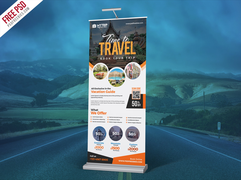 Tour Travel Roll Up Banner PSD