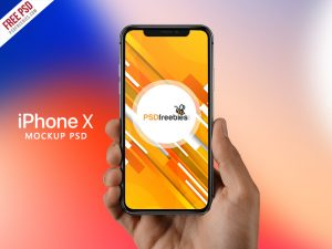 iPhone X in Hand Mockup Free PSD
