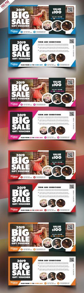 Big Sale Gift Voucher PSD Template Bundle