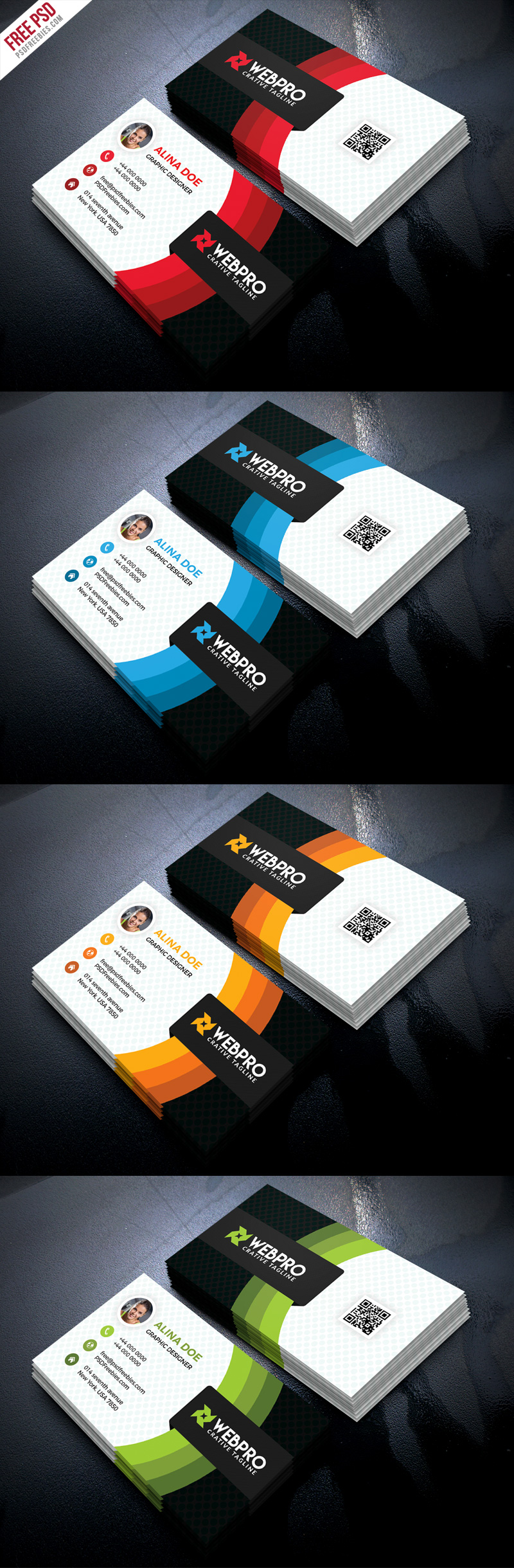 Corporate Business Card Free PSD Set