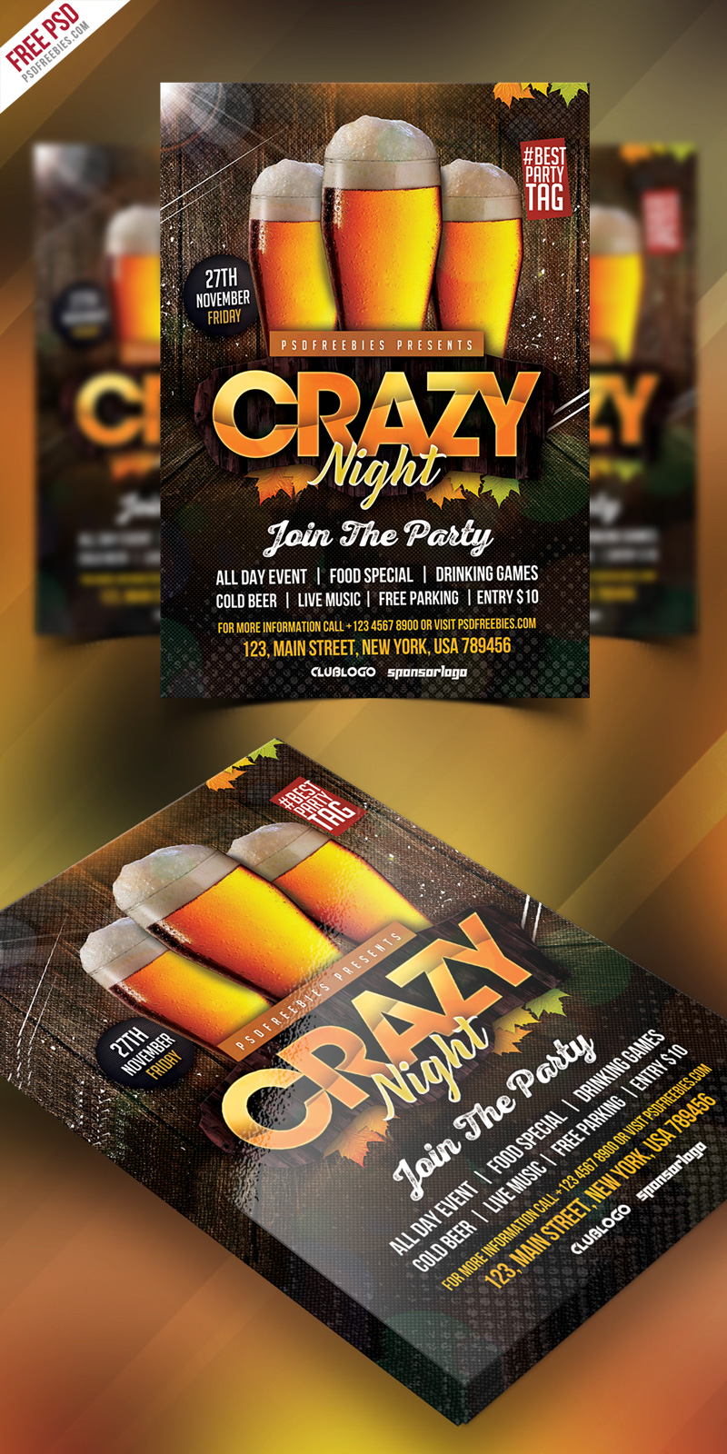 Free Club Party Flyer PSD Template