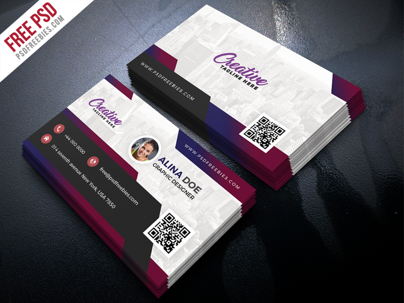 free modern business card design psd
