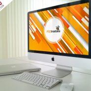 Office iMac Workstation PSD Mockup