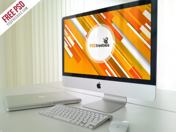 Office iMac Workstation PSD Mockup