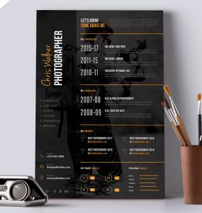 Photographer Resume CV PSD Template