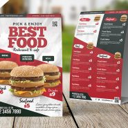 Restaurant Food Menu Table Tent Card PSD
