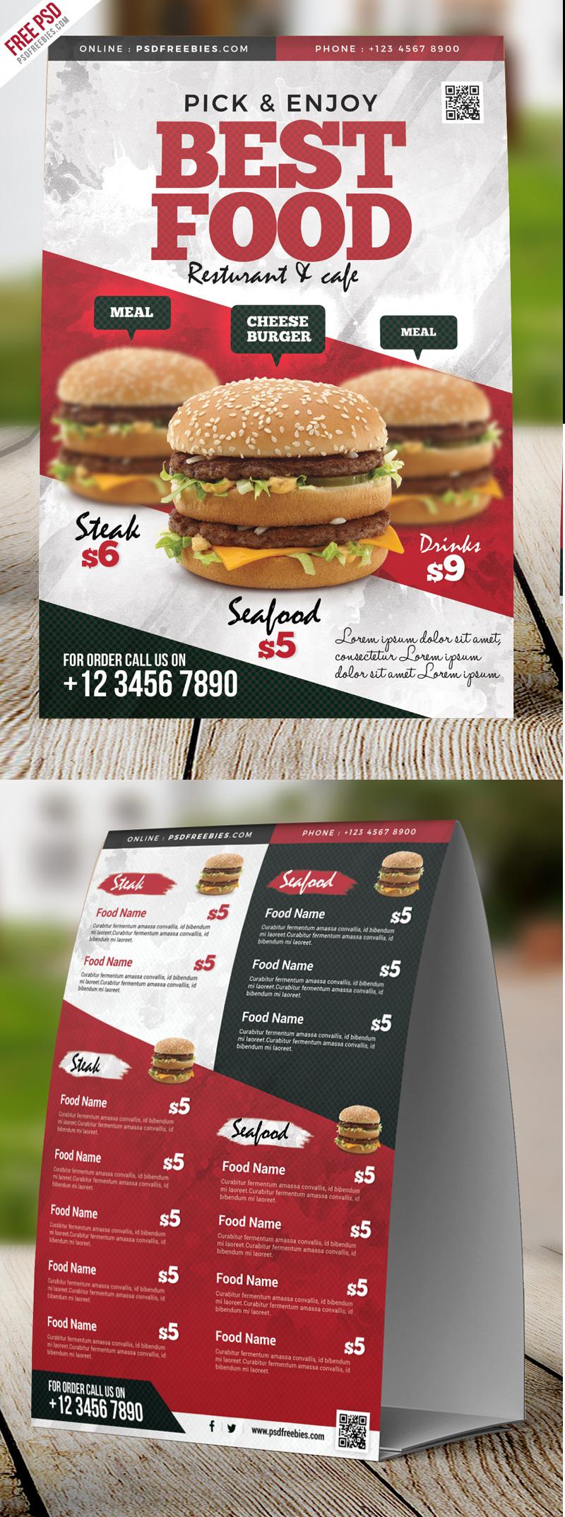 restaurant food menu table tent card psd psdfreebies com