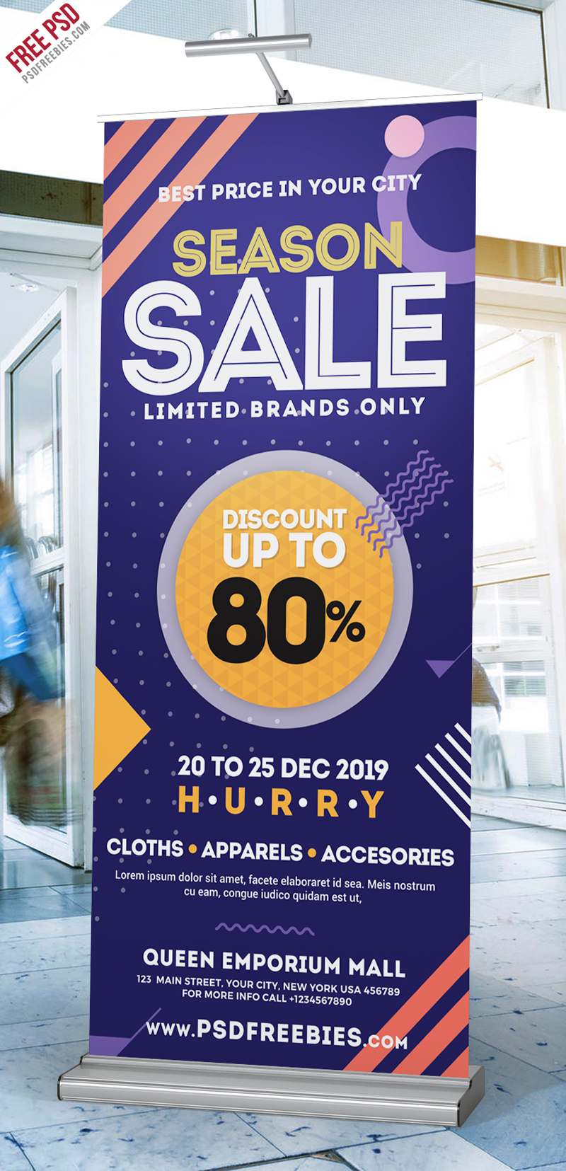 Season Sale Roll-Up Banner Free PSD