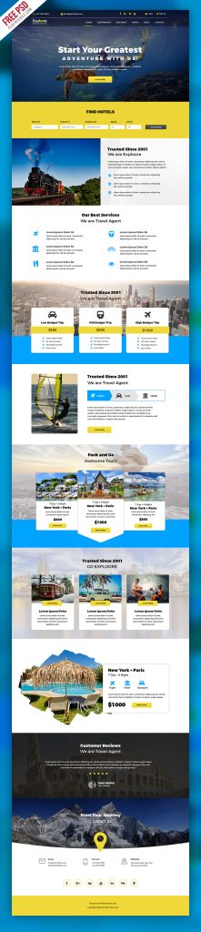 Travel Tour Booking Website Free PSD