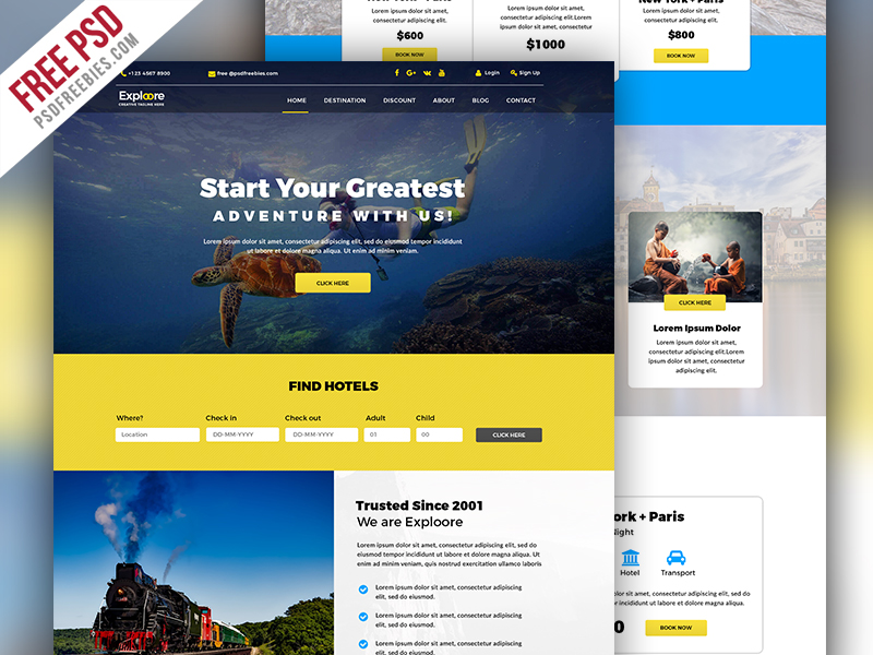 Travel Tour Booking Website Free PSD