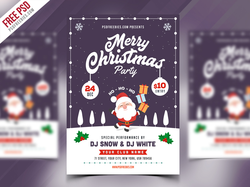 christmas party flyer template psd psdfreebies com