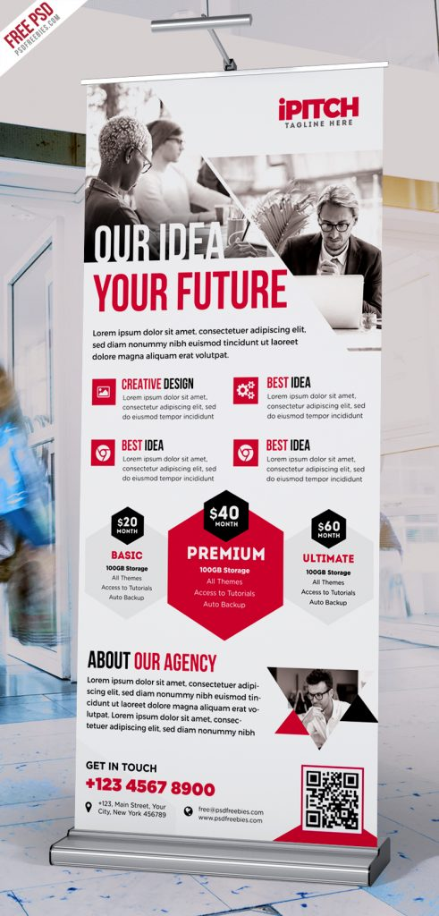 Clean Corporate Ad Roll-up Banner PSD