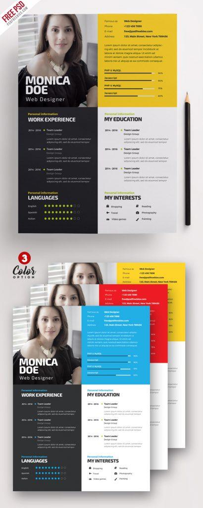 Creative Resume Template PSD Bundle