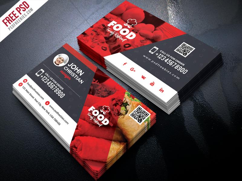 Free Restaurant Business Card Psd Psdfreebies