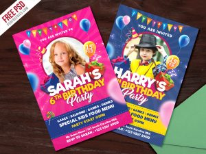 Kids Birthday Party Invitation Card PSD