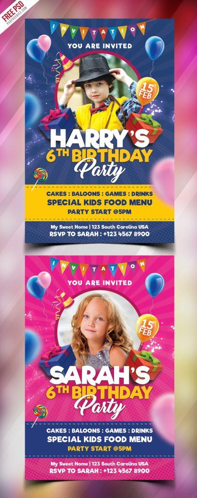 Kids Birthday Party Invitation Card PSD