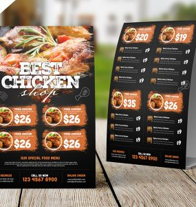 Restaurant Tent Card Food Menu Free PSD