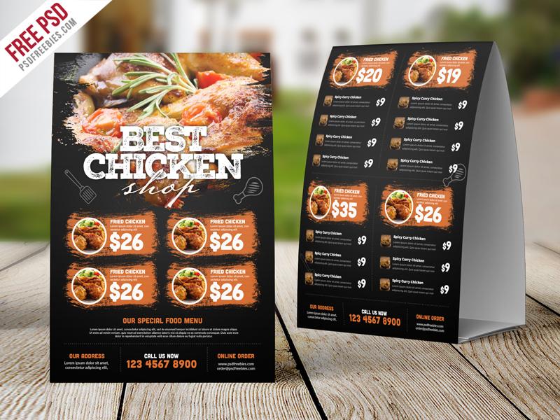 Restaurant Tent Card Food Menu Free PSD