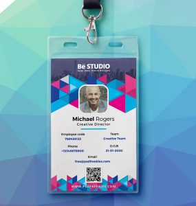 Abstract Office ID Card PSD