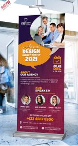 Corporate Conference Roll-up Banner PSD