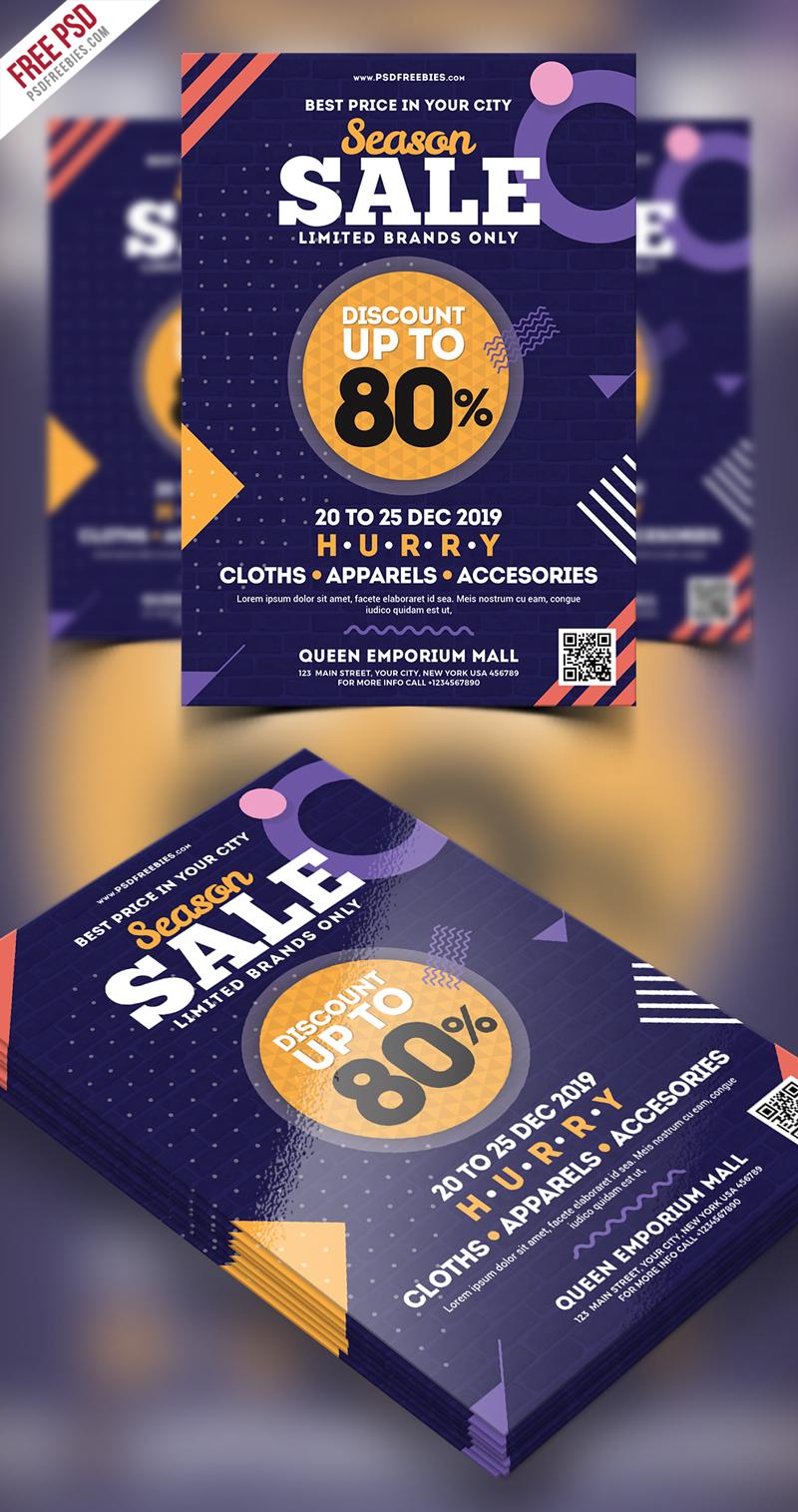 Holiday Season Sale Flyer Free PSD