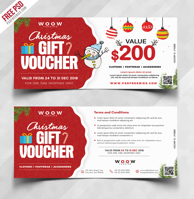 Holiday Season Sale Gift Voucher PSD