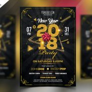 New Year 2018 Party Flyer PSD Template