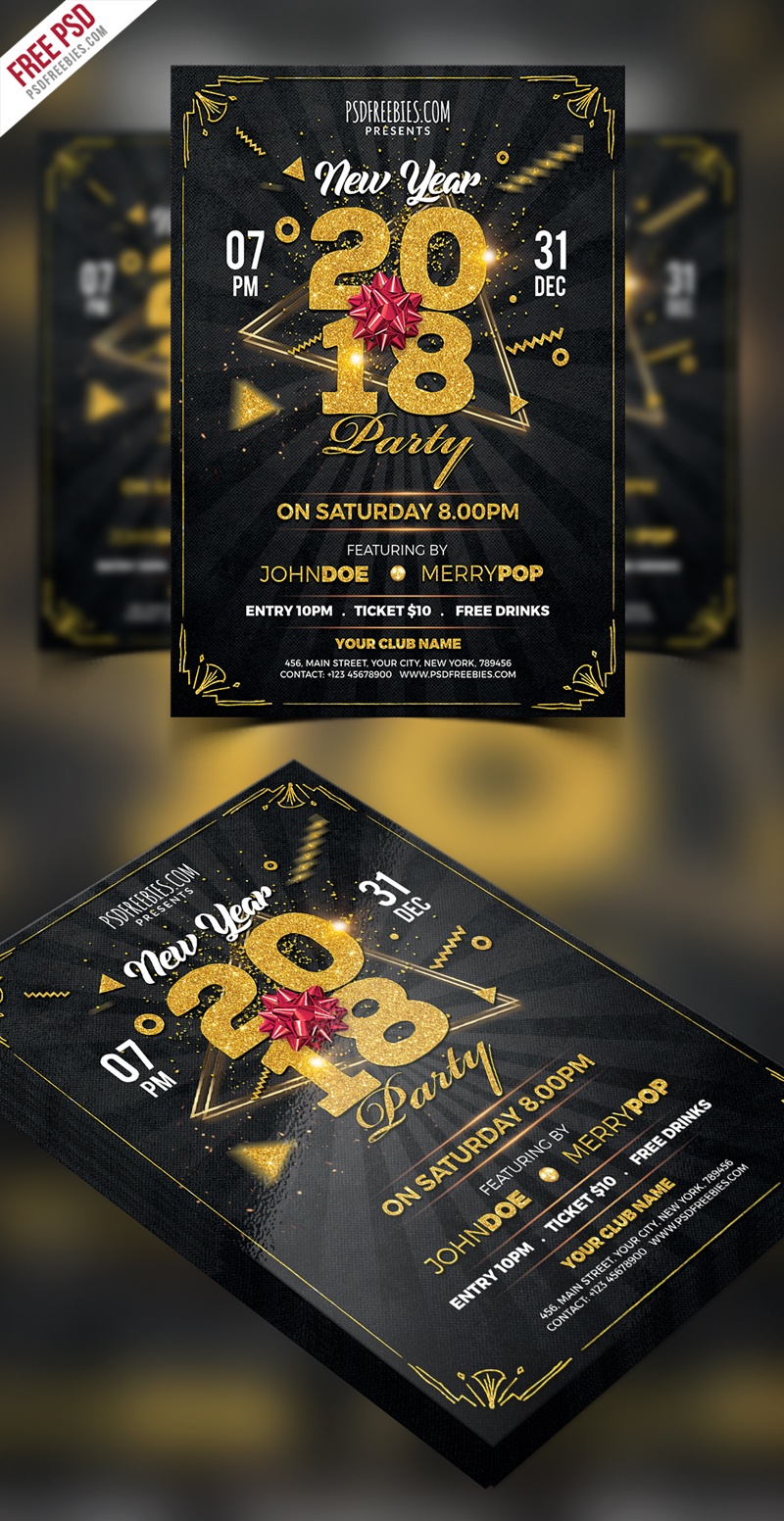 new year 2018 party flyer psd template downloads full 800x1552