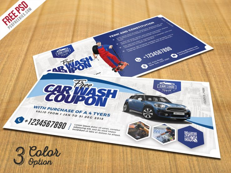 Car Wash Coupon Template PSD Set