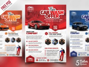 Car Wash Services Promotional Flyer PSD Bundle
