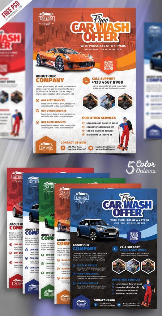 Car Wash Services Promotional Flyer PSD Bundle