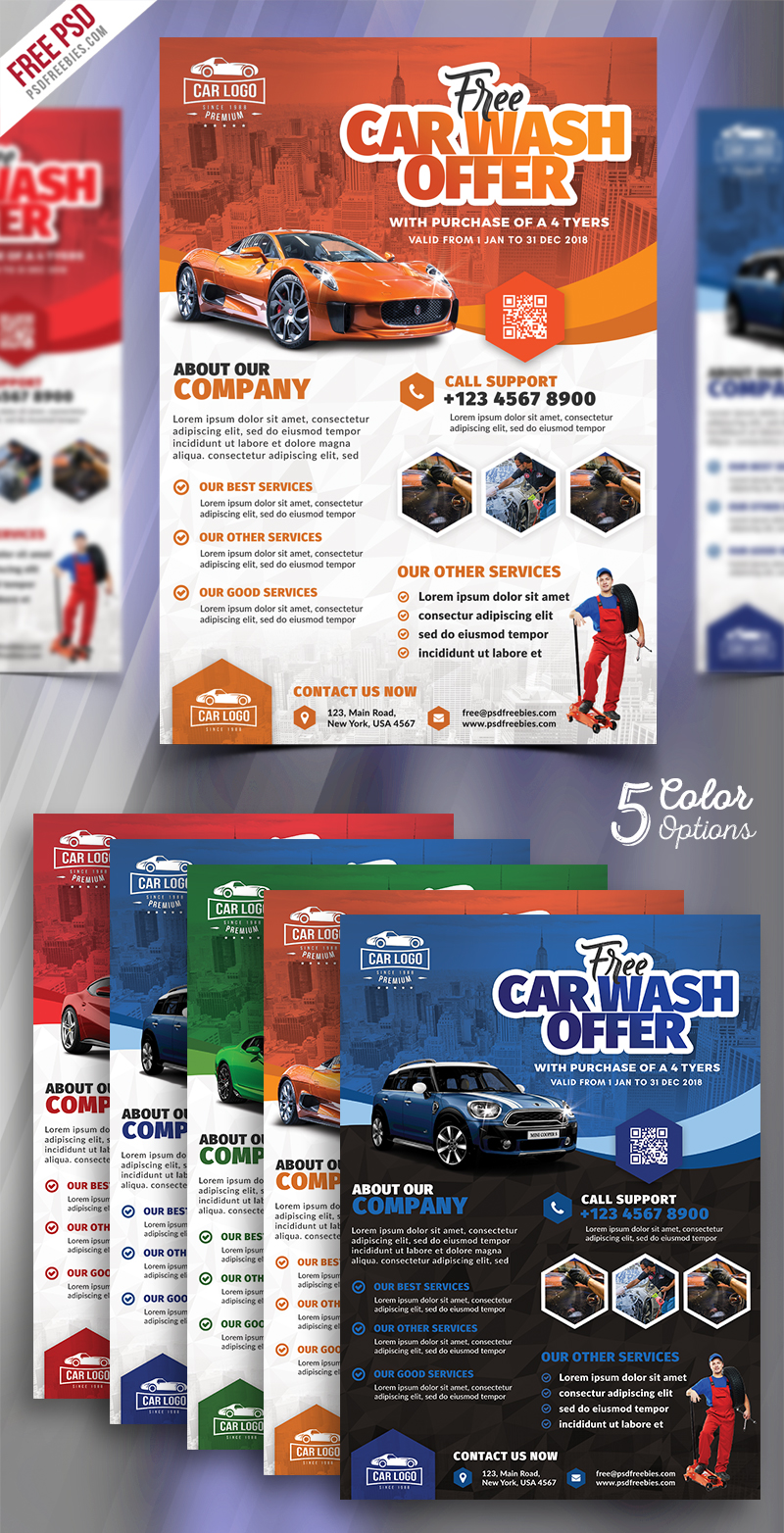Car Wash Services Promotional Flyer Psd Bundle Psdfreebies Com
