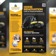 Construction Company Flyer Free PSD Bundle