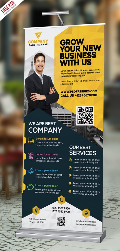 Corporate Roll Up Banner Design Free PSD